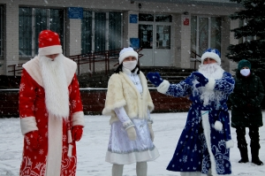 Россоны, деды Морозы, парад, праздник, Новый год